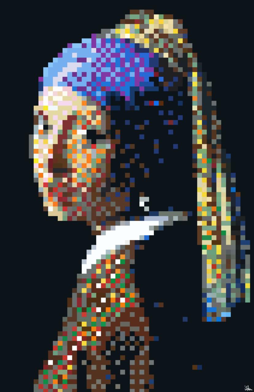 Girl in pixel Illust of Qiya Art MasterpieceFanart originalart girl pixelart original Realistic