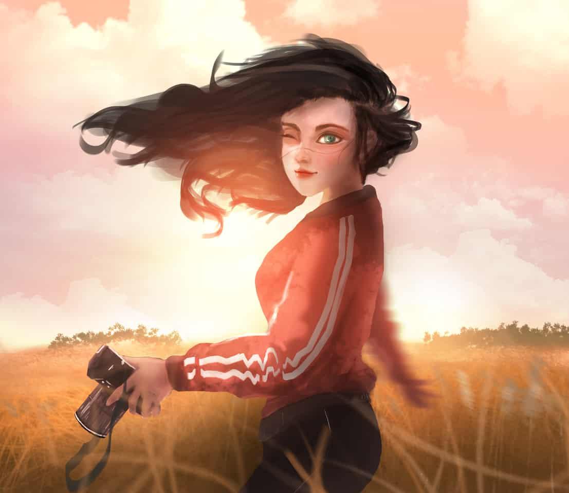 秋天、暖陽、有點大的風... Illust of YIDO January2021_Contest:OC 秋天 painting 女孩,阴影,光,美丽 illustration