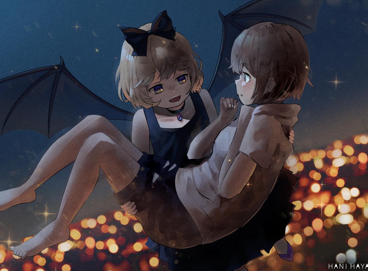 에리와 히나타 Illust of HANI HAYA medibangpaint loli 에리 anime 이웃집흡혈귀 elly vampire 夏木ひなた となりの吸血鬼さん hinata