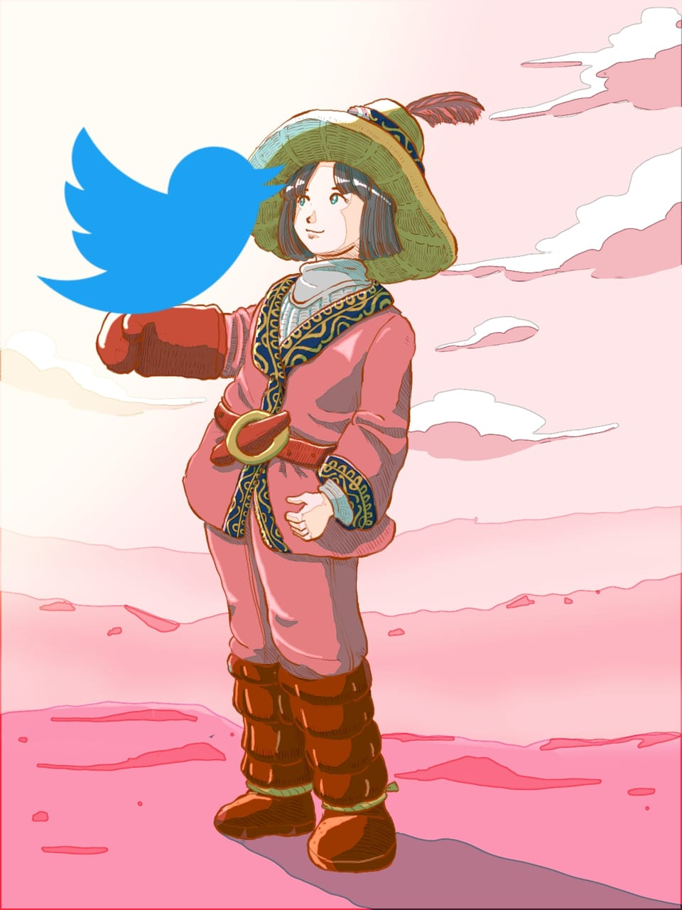Now i got twitter account @wutikaic pls. Follow :) Illust of Wutikai girl Japanese_style hill cutegirl sky Twitter landscapes scenery oc
