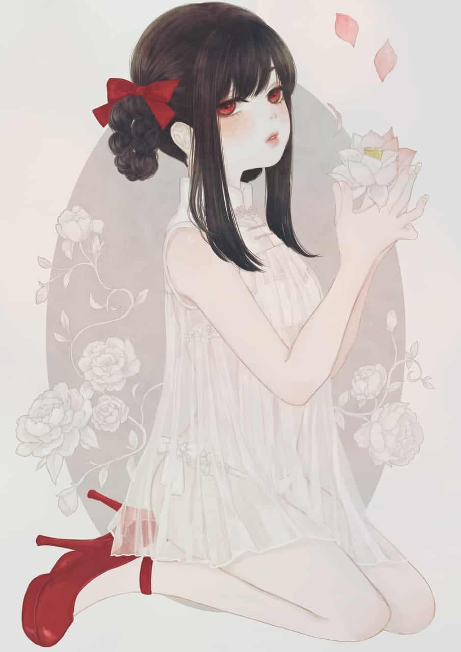 花占い Illust of 丑山雨 黒髪 メディバン iPad チャイナ girl flower