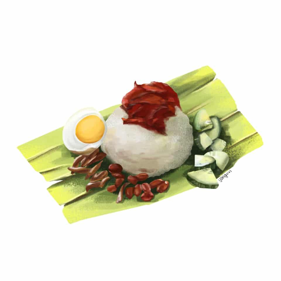 马来西亚食物_椰浆饭   MalaysiaFood_Nasi Lemak Illust of YongXin October2020_Contest:Food food 椰浆饭 马来西亚食物 马来西亚 nasilemak 食物插画
