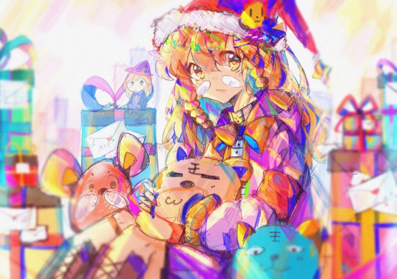 """""""礼物"""" Illust of Sea_unchier December2020_Contest:Santa girl Christmas"""