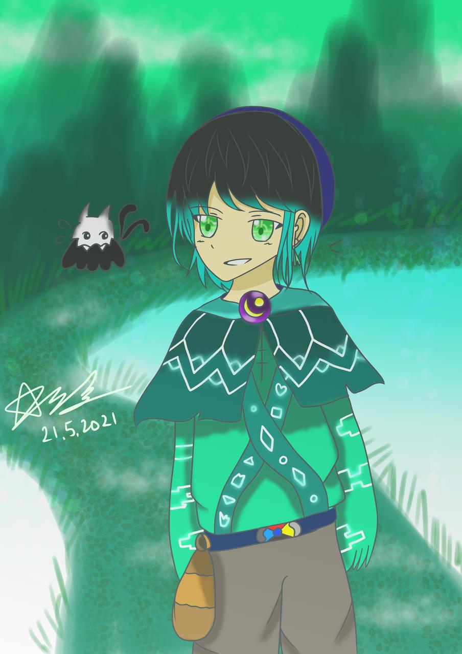 米可與角靈貓 Illust of 神祕的星彩star 湖 魔法 訓練人物 山 自創角色 girl 精靈 綠