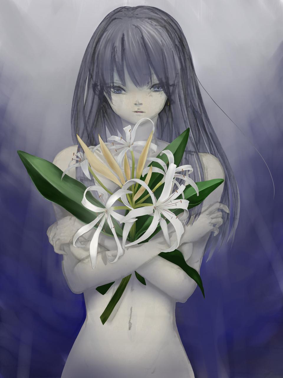 ④生物/ハマユウ Illust of 生 brag.your.country sea 浜木綿 woman ④生物 植物 flower 白い花 ハマユウ 生物