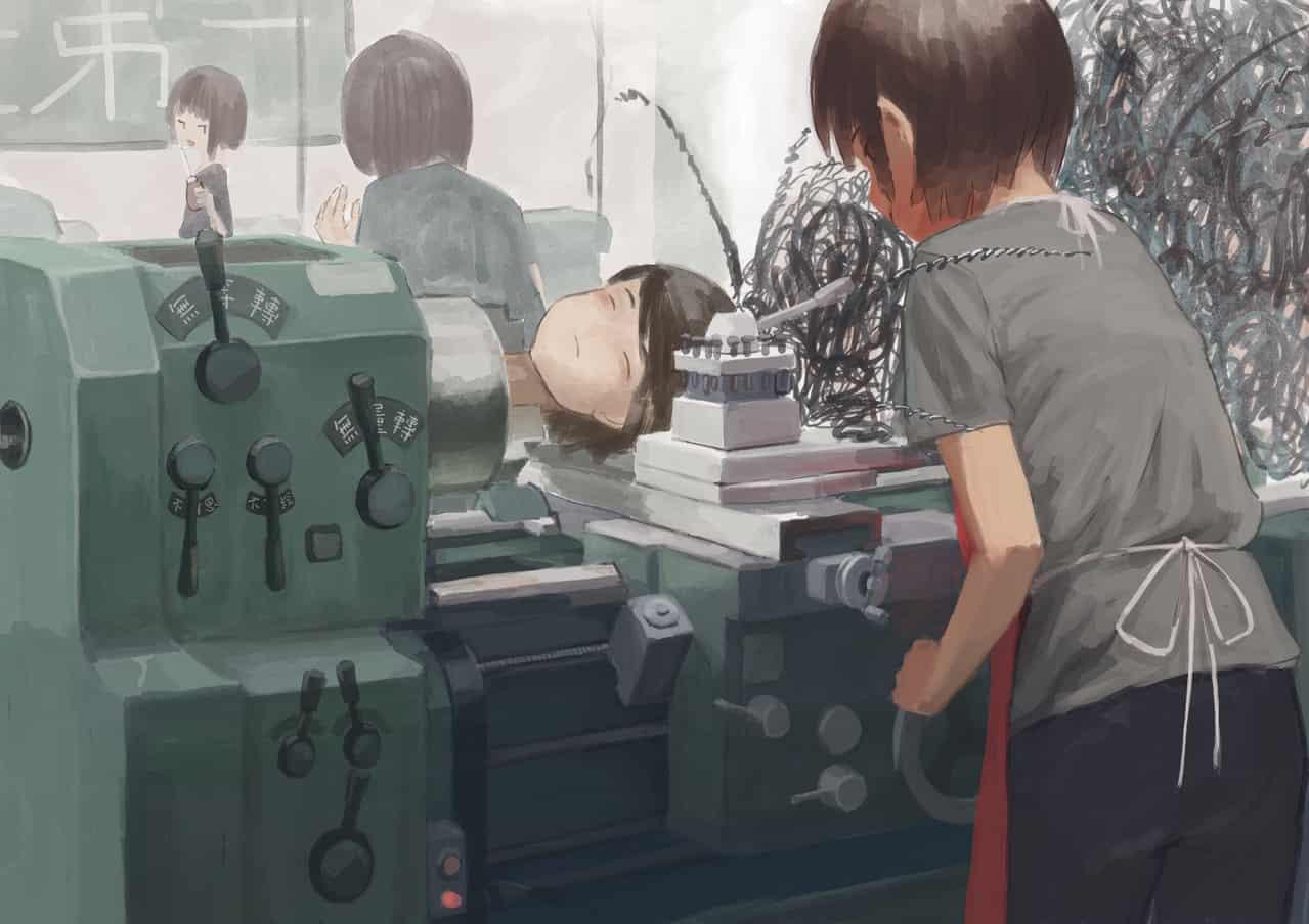 無明 Illust of OTHERS August2020_Contest:Horror girl 旋盤 機械 車床