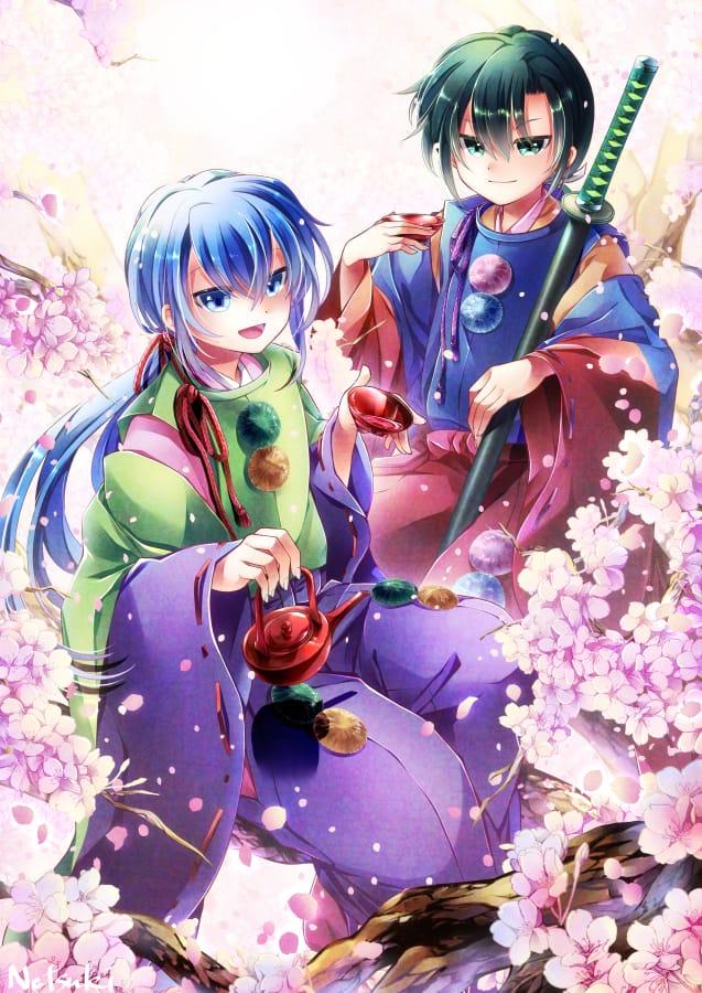 桜花爛漫 Illust of 能勢ナツキ April2021_Flower sakura Japanese_style kawaii boy 和風ファンタジー kimono oc original