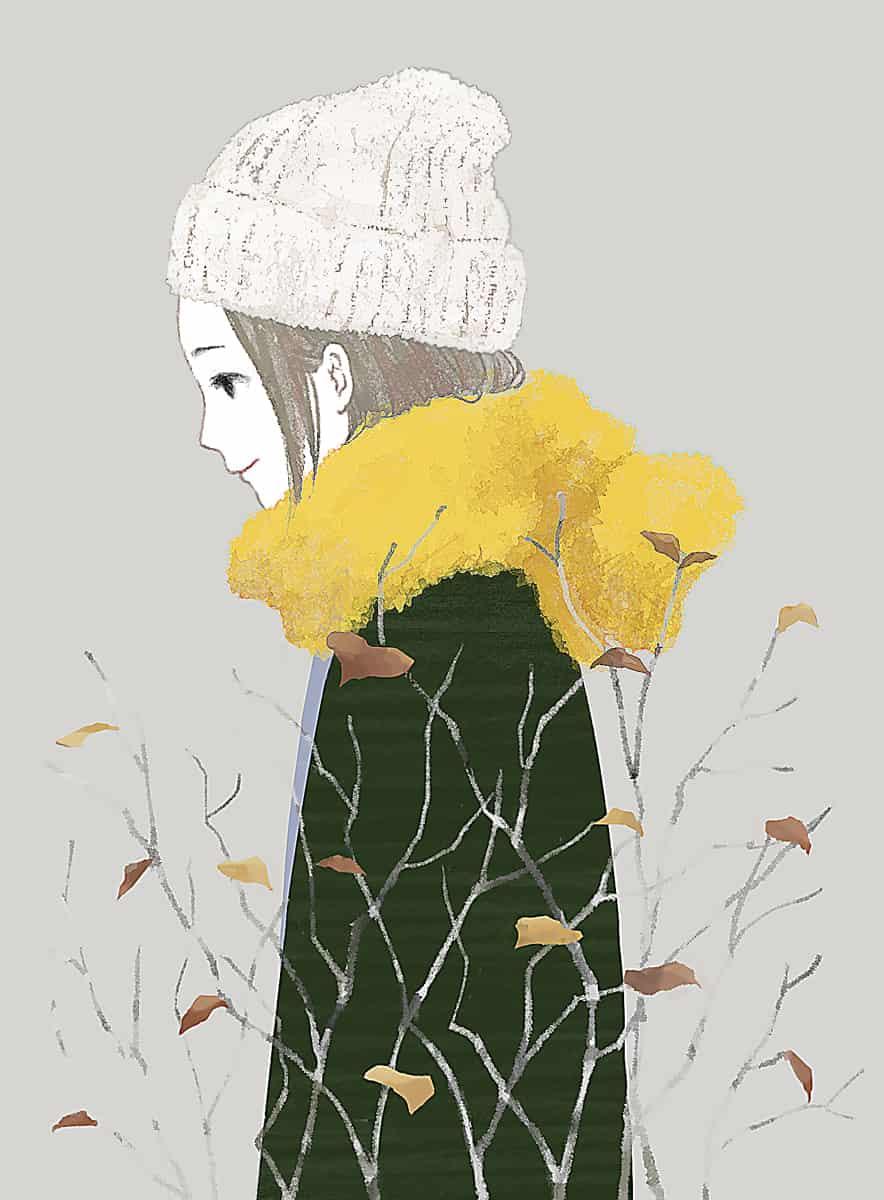秋の子 Illust of ツユキサヤ autumn girl ニット帽 original sideface