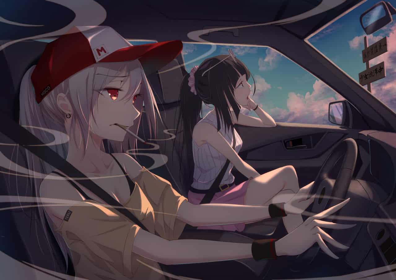 渋滞中 Illust of 山中梅 car girl キャップ tobacco