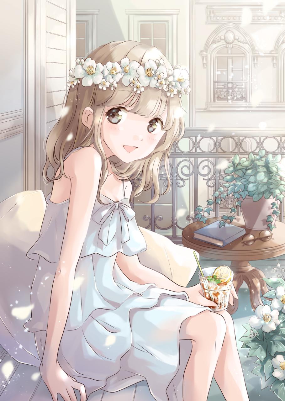balcony Illust of 星茨まと original girl flower summer