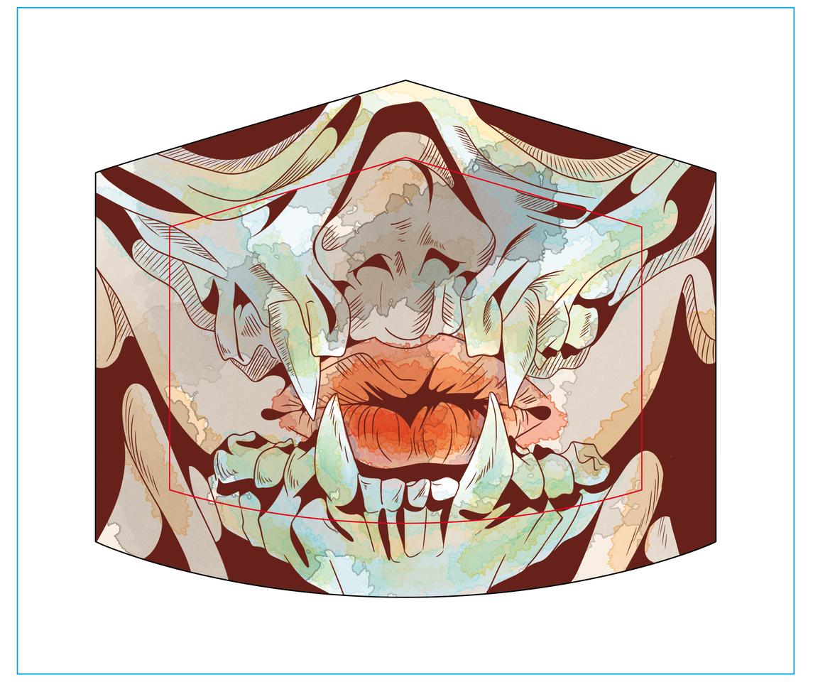 TRIBAL Illust of DANNARTWORK MaskDesignContest illustration watercolor mouth mask tribal drawing mascarilla ilustration skull