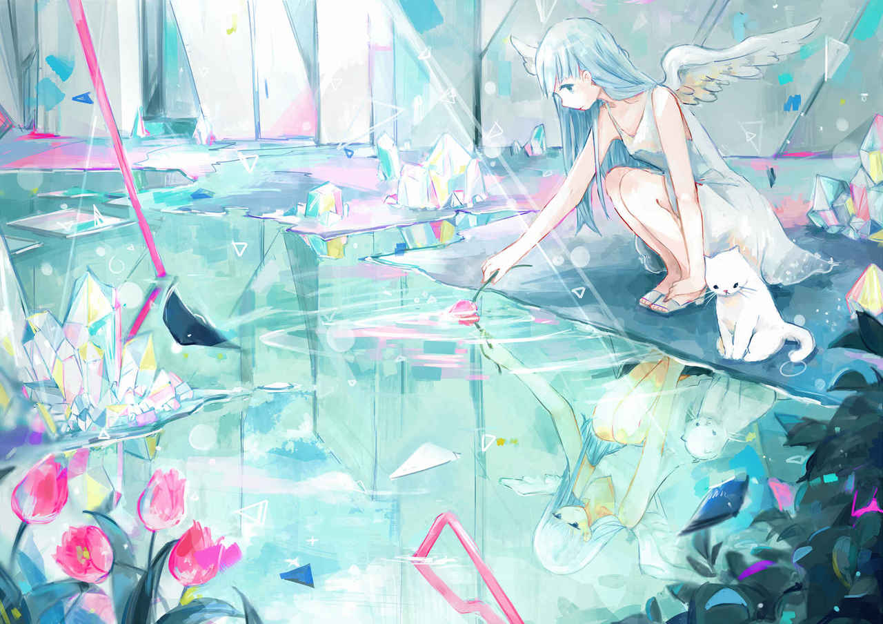 lost prism world Illust of YUtuKI original angel 鉱石 cat 水面
