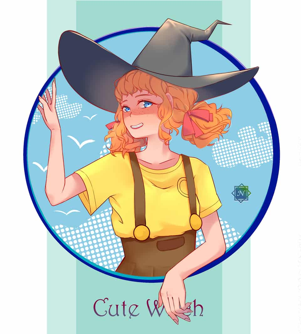 Cute Witch Illust of Niaski witch digital femalecharacter lineplay blueeyes orange fanart witches curly digitaldrawing