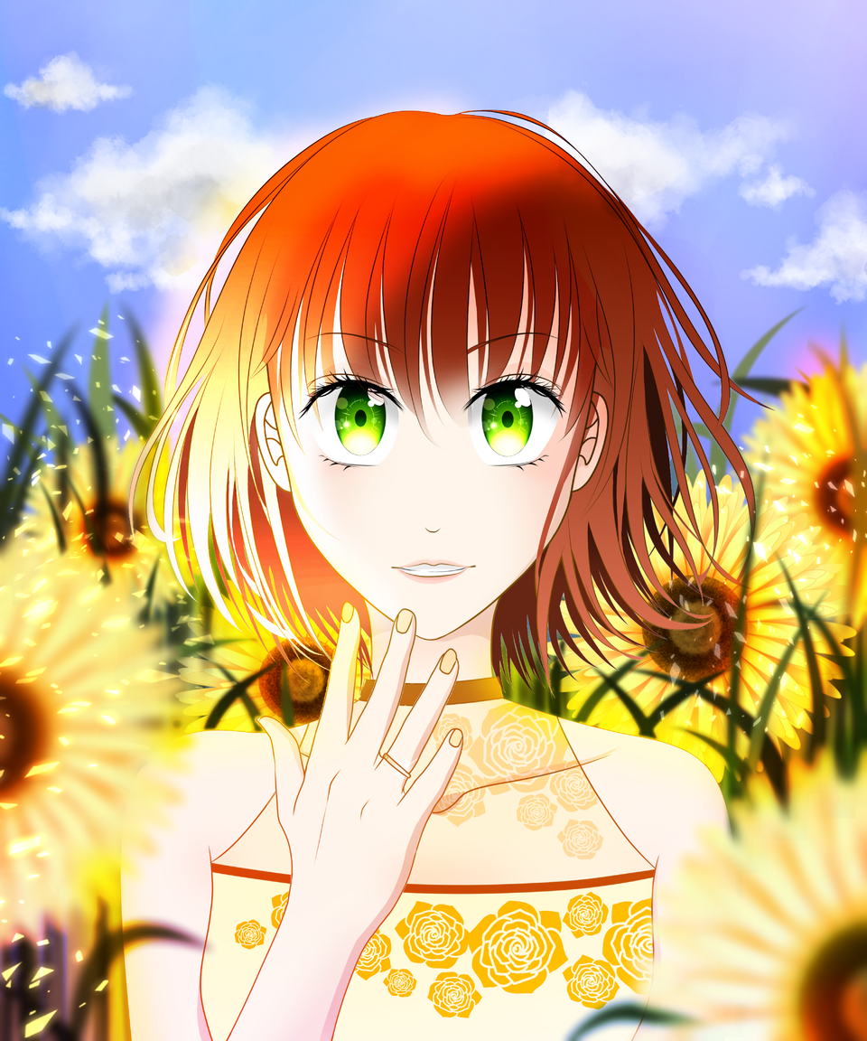 Sunflower Illust of VioletHoshimi April2021_Flower medibangpaint girl oc original blue painting animegirl sky animestyle