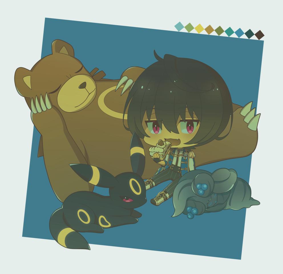 Illust of 芹原 朔間凛月 pokemon crossover EnsembleStars