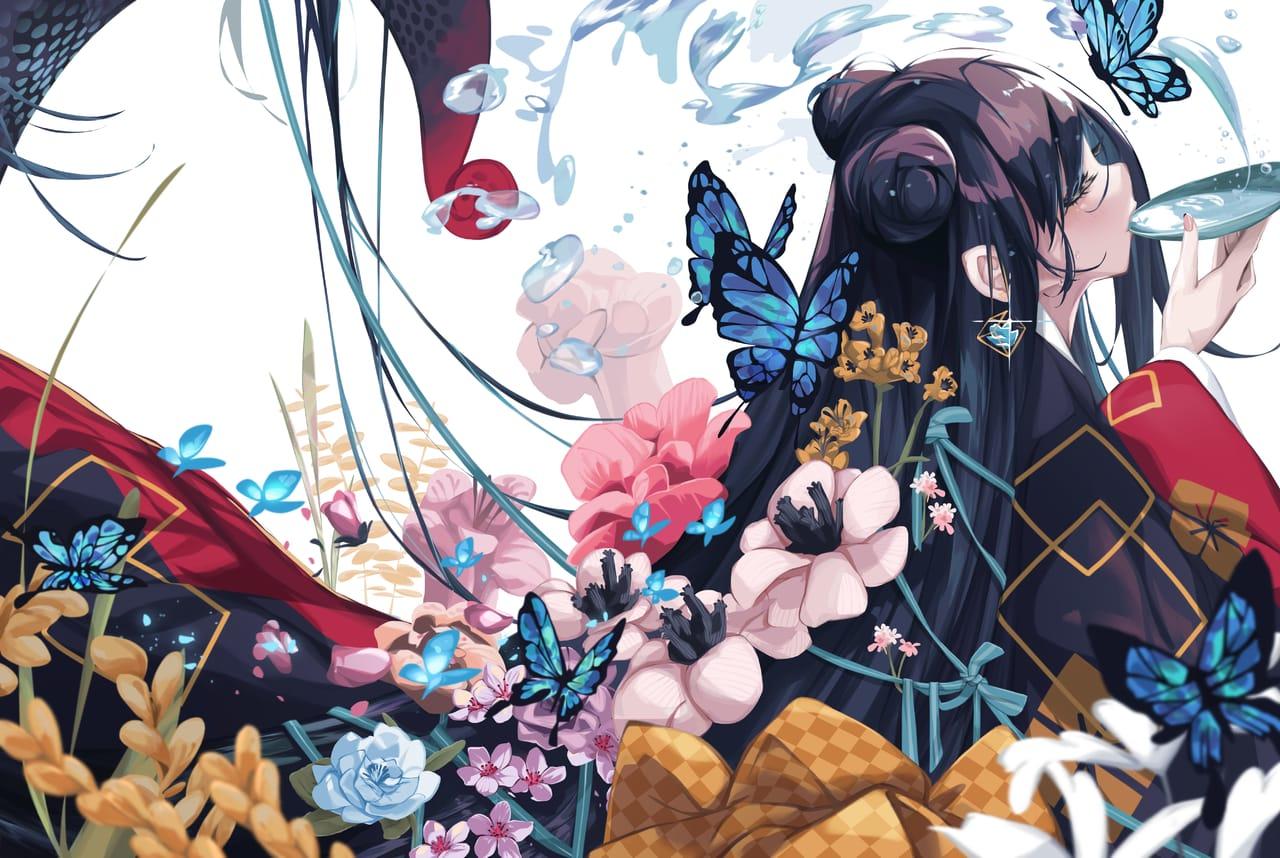 明鏡止水 Illust of 我是小鸚啾啾啾 ART_street_Illustration_Book_Contest flower kimono butterfly