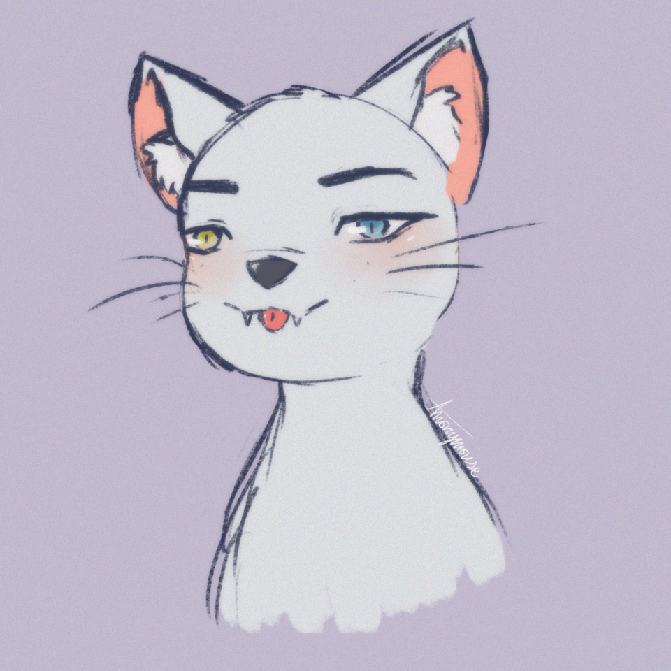 c a t w i t h h u m a n e a r s Illust of AnonymouseSaysHoooi sketch cat cursed ears Minecraft daily_doodlez catears