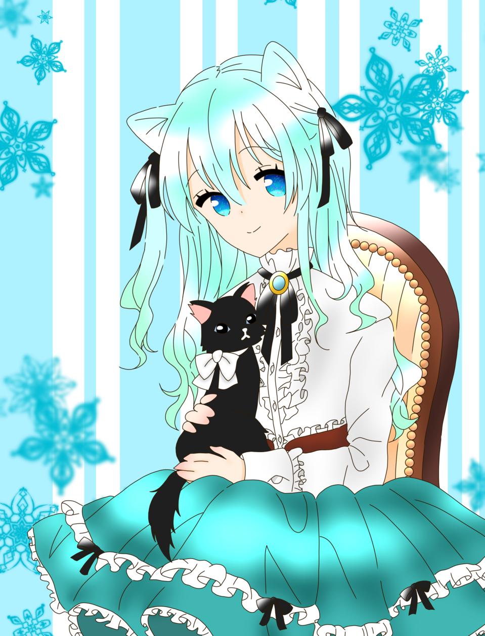 少女と黒猫(ゆすらうめ様) Illust of 桜 宮美 ゆすらうめ 黒猫 桜宮美