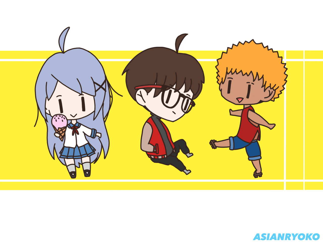 Chibi Cool Kids Illust of AsianRyoko glasses blue kawaii blonde chibi uniform medibangpaint cute