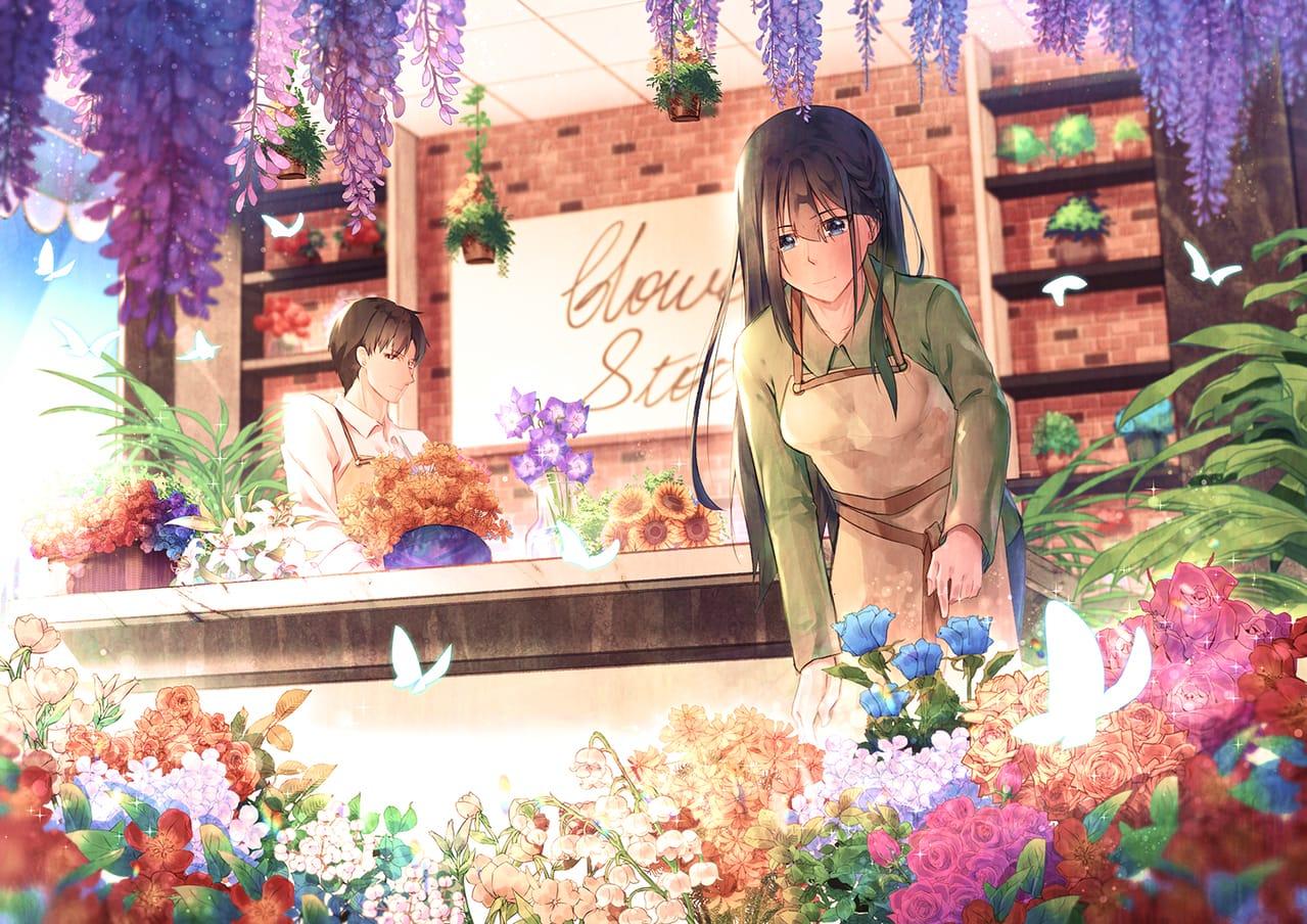 Flower Store Illust of 亙羽 Gengyu April2021_Flower flower original 蝴蝶 oc 花店