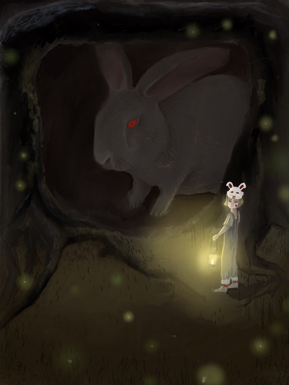 Easter and the mysterious rabbit Illust of 英年早逝的小涵纸 March.2020Contest:Easter medibangpaint 萤火虫 forest 暗黑 兔子日