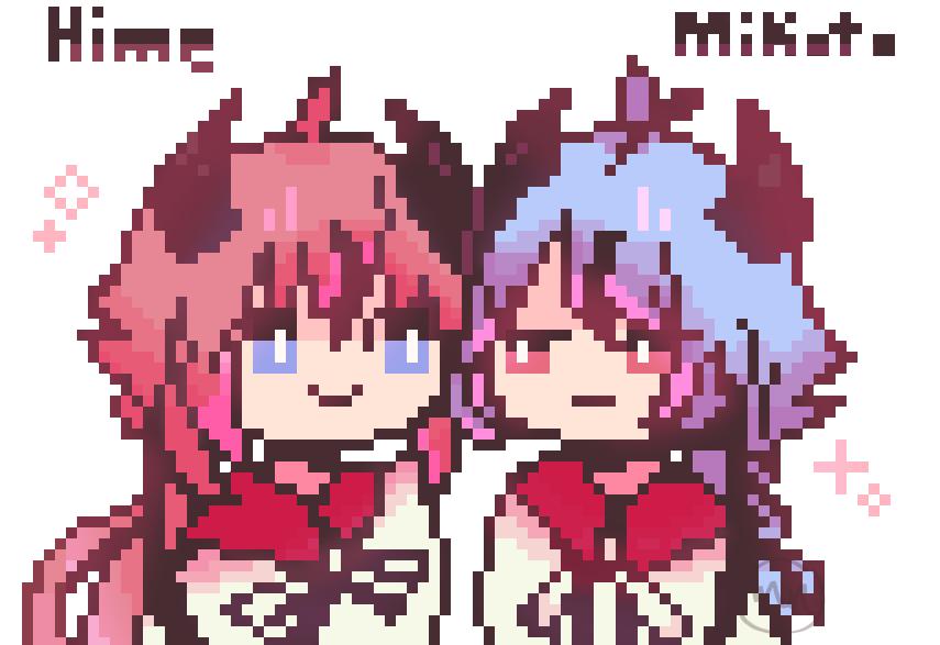 hi hello have some pixel art Illust of MochiiNiko VOCALOID pixelart