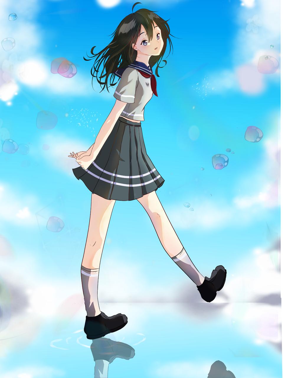 Yuri Nanami  Illust of Fari January2021_Contest:OC sky girl purpleEye blackhair medibangpaint blue oc