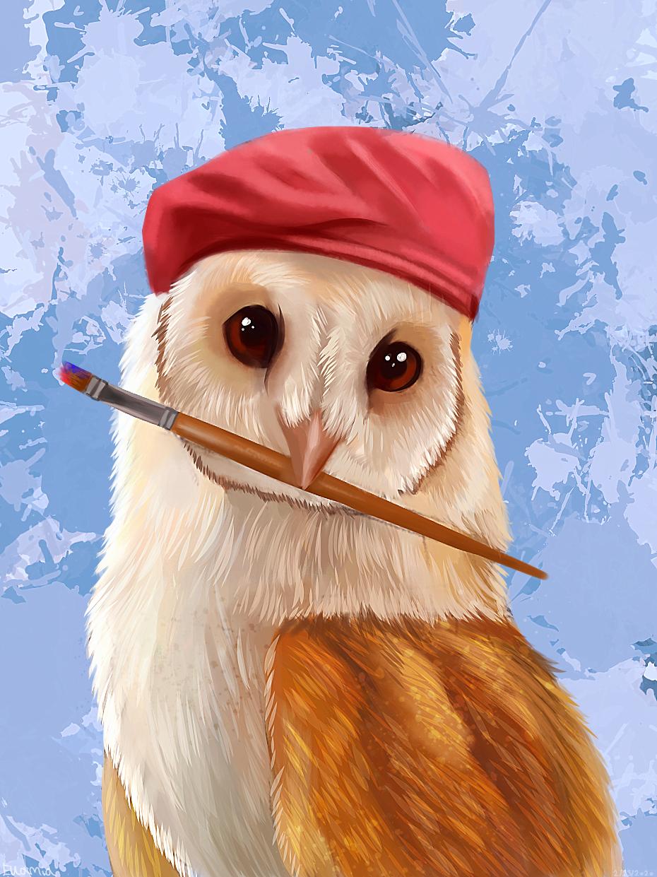 Artist owl Illust of Ellamia Original_Illustration_Contest art painting Owl animal