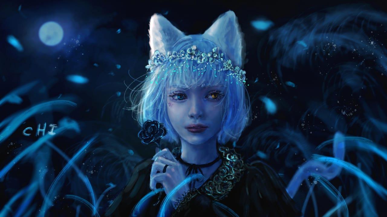 crystal Wreath Illust of CHI-NAI May2021_Monochrome June2021_Anthropomorphism April2021_Flower illustration girl hair flower original moon eyes 貓