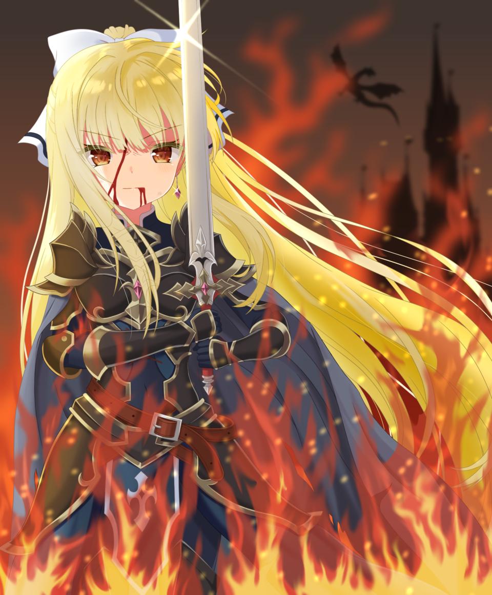 炎獄の騎士 Illust of 餅麦 らいす February2021_Fantasy medibangpaint woman 騎士 blonde 炎