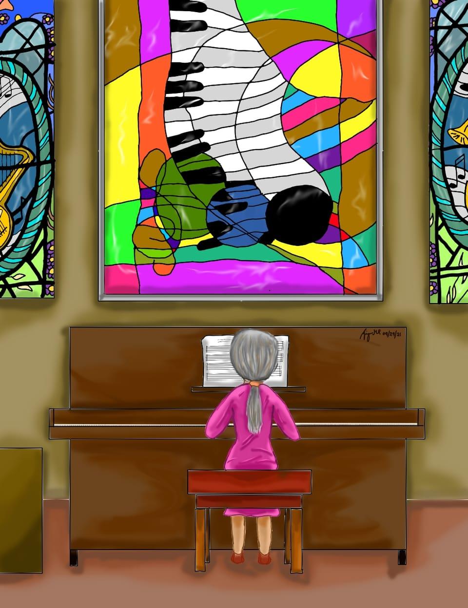 Organ Illust of maoruai September2021_Girl ARTstreet_Ranking_Contest music painting stainedglass colorful digital girl 1hDrawingChallenge piano color