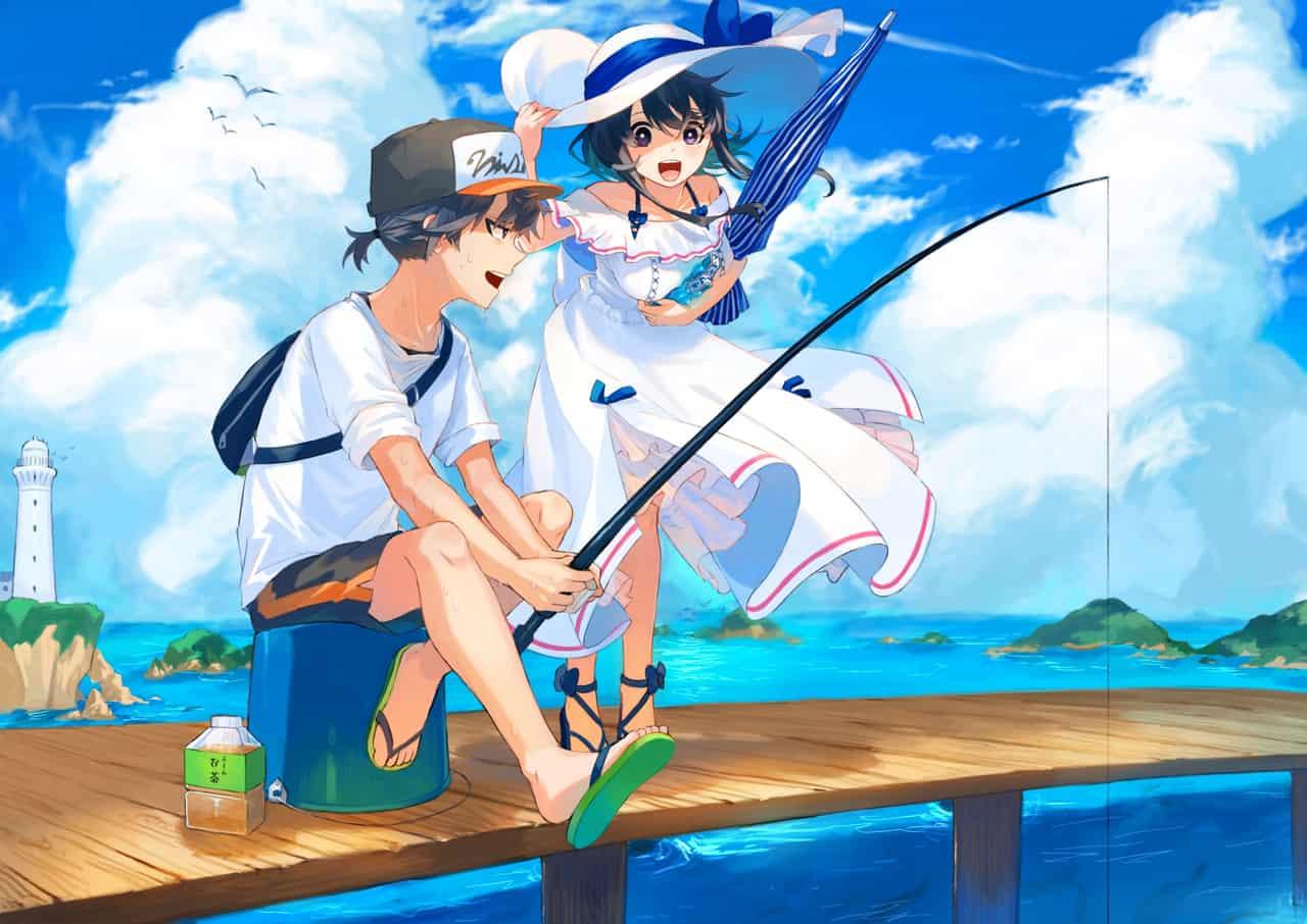 夏休み Illust of 四鈴あざな 釣り original 青空