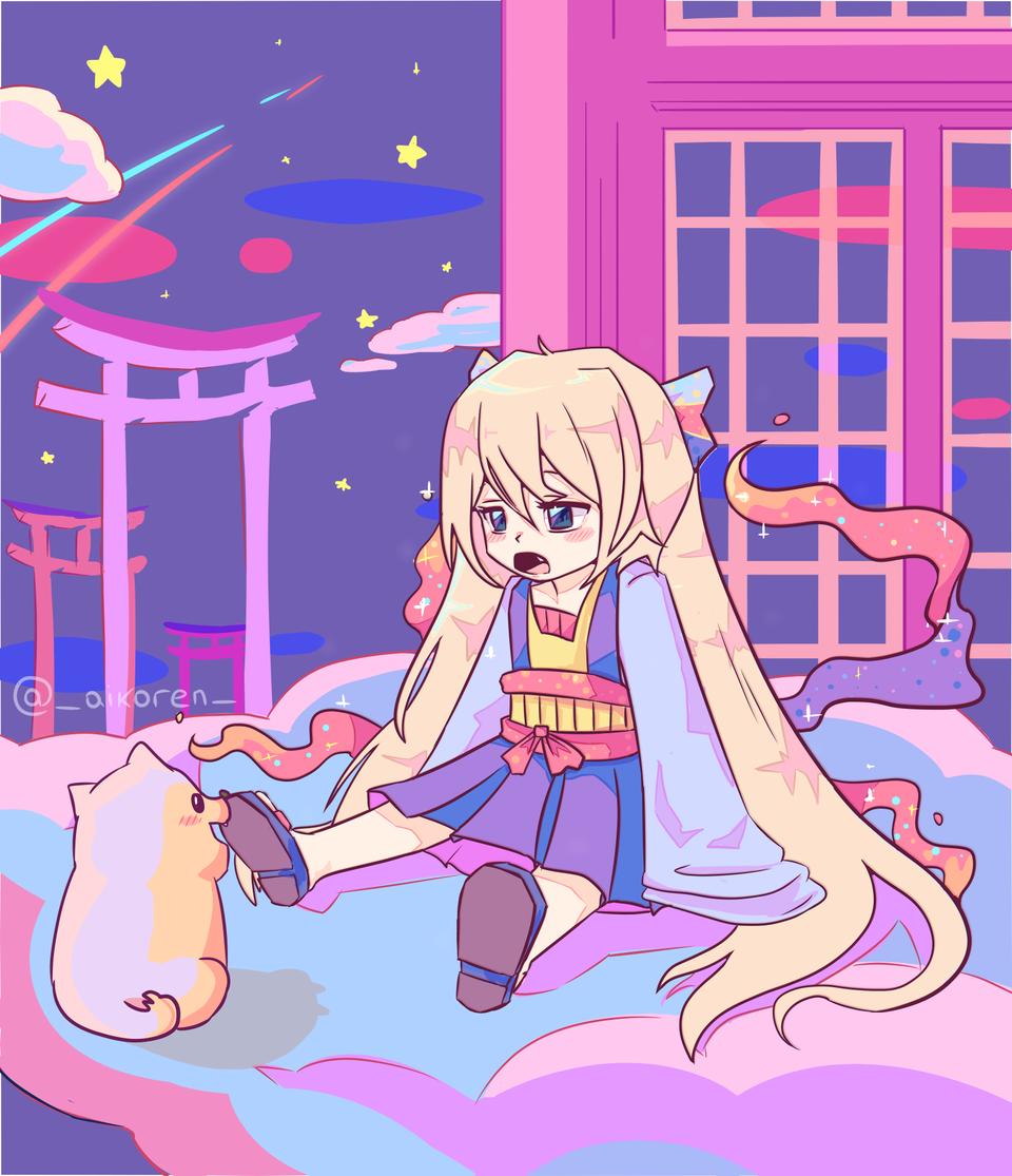 Kumo, the sleepy goddess Illust of aikoren chibi youkai loli oc girl kawaii