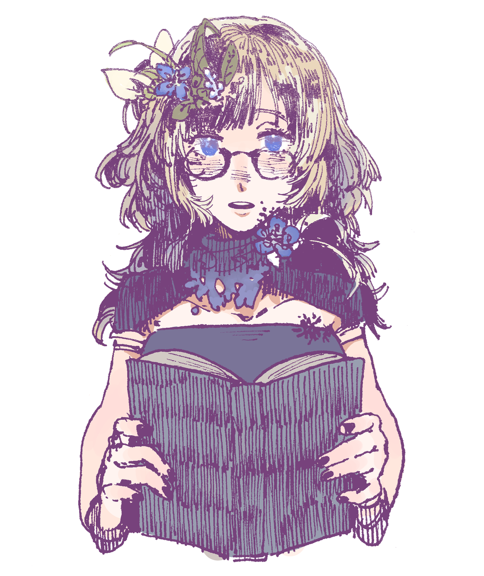 no title Illust of sumire_ medibang girl paint glasses
