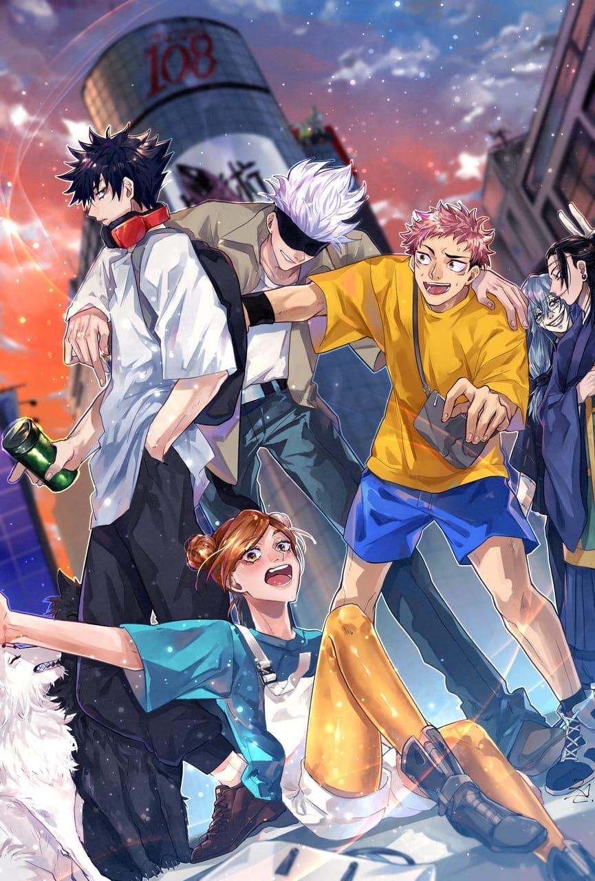 SHIBUYA Illust of KLAI JujutsuKaisenFanartContest Nobara_Kugisaki JujutsuKaisen Yuji_Itadori SatoruGojō Megumi_Fushiguro