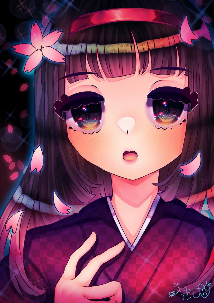 桜×和風×女の子 Illust of カツシカルキコ January2021_Contest:OC original Japanese_style oc girl flower
