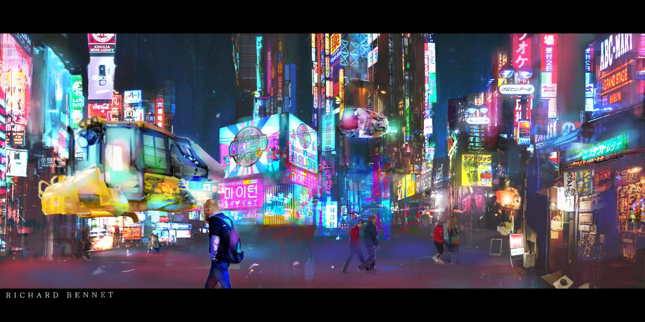 Night Life Illust of RichardBennet digital MedibangPaintart painting Conceptart Medibang Me art Med Futuristic cyberpunk