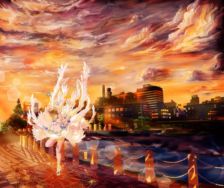 Sakura Clear Card - Sunset Illust of Meowmeow BackgroundImageContest_Using_Division Background_Image_Contest CardcaptorSakura drawing warmcolors sunset anime Background-coloring