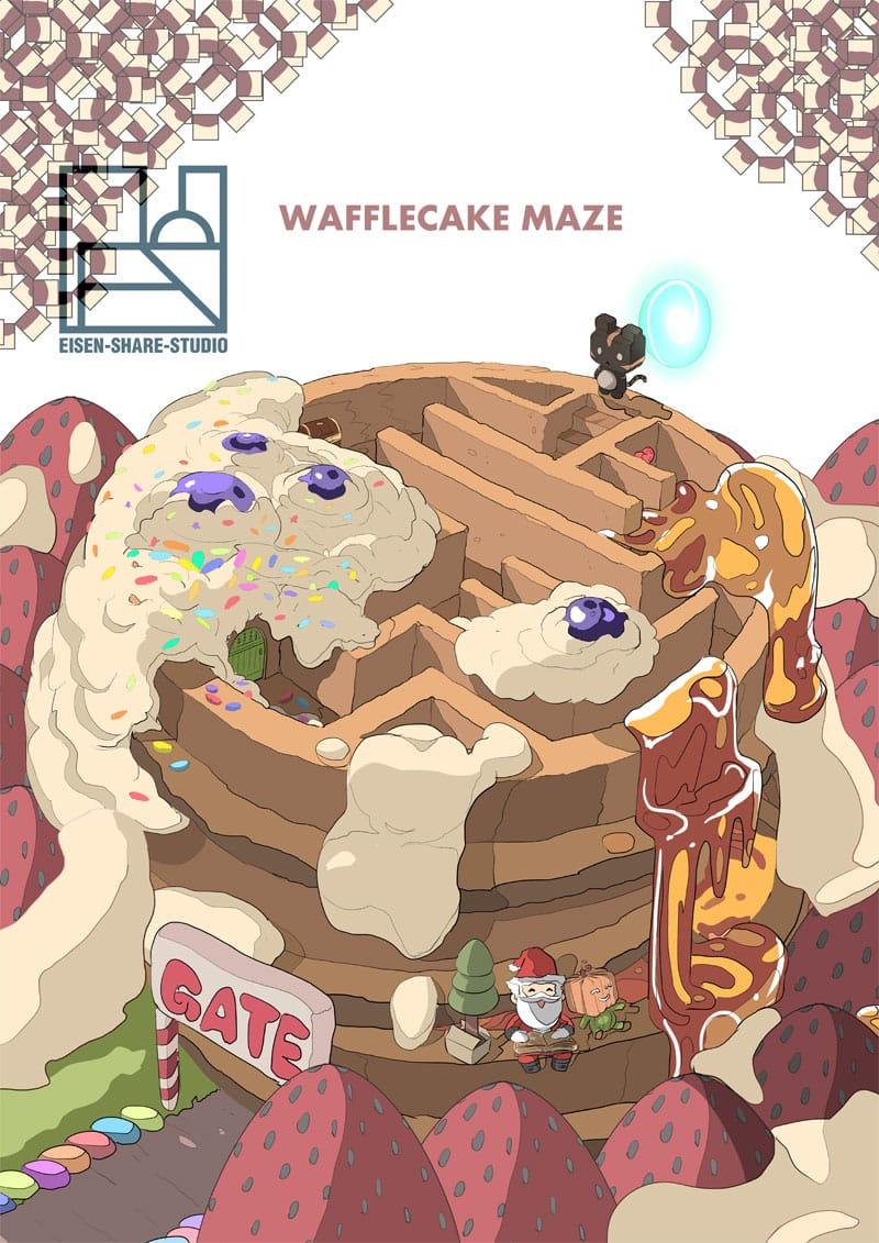 waffle cake maze Illust of EISENSHARE giftyouwant2020:50000YenGift December2020_Contest:Santa January2021_Contest:OC giftyouwant2020 SantaClaus Waffle cat strawberry cake MerryChristmas cream maze desert santa