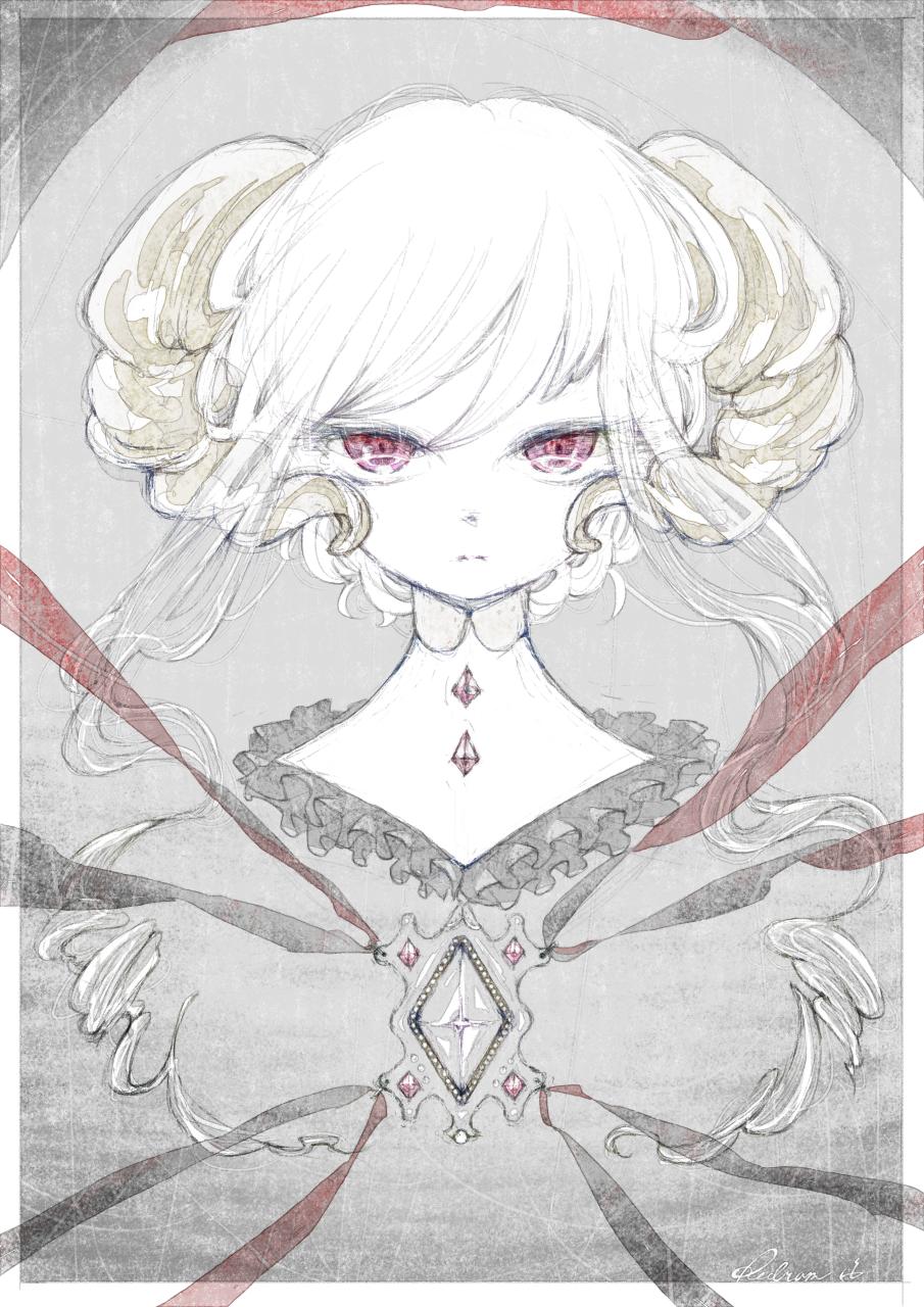 Redram Illust of 氏← January2021_Contest:OC horn Personification 赤目