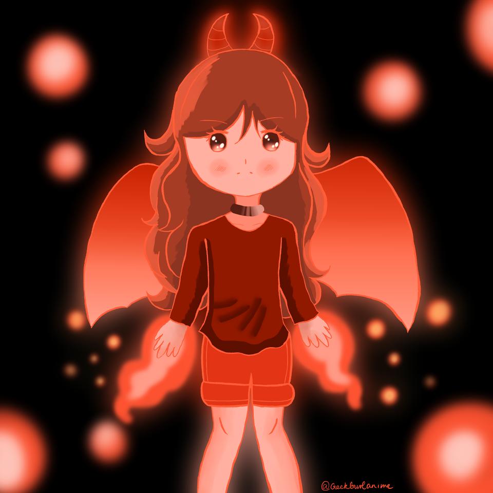 ドラゴン Illust of Geek Gurl Anime May2021_Monochrome medibangpaint original girl embers fire iwantdistobelvl7NOW dragon thisartshouldlvlup Vermillion oc