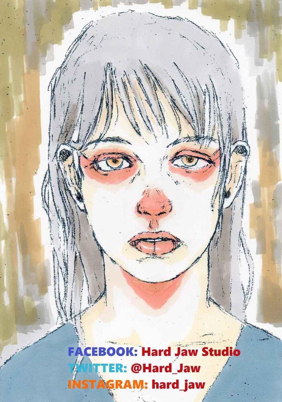 Publicité Numéro 8. Illust of Hard-Jaw color girl marker ink drawing dessin promarker