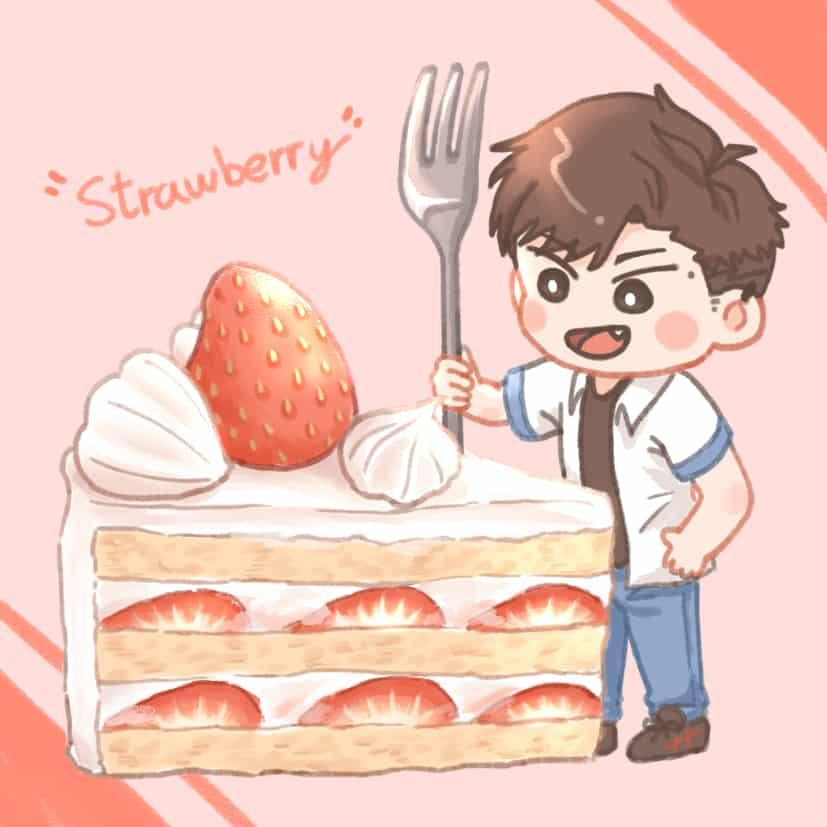 好吃草莓蛋糕 Illust of vickypon October2020_Contest:Food food chibi cake boy