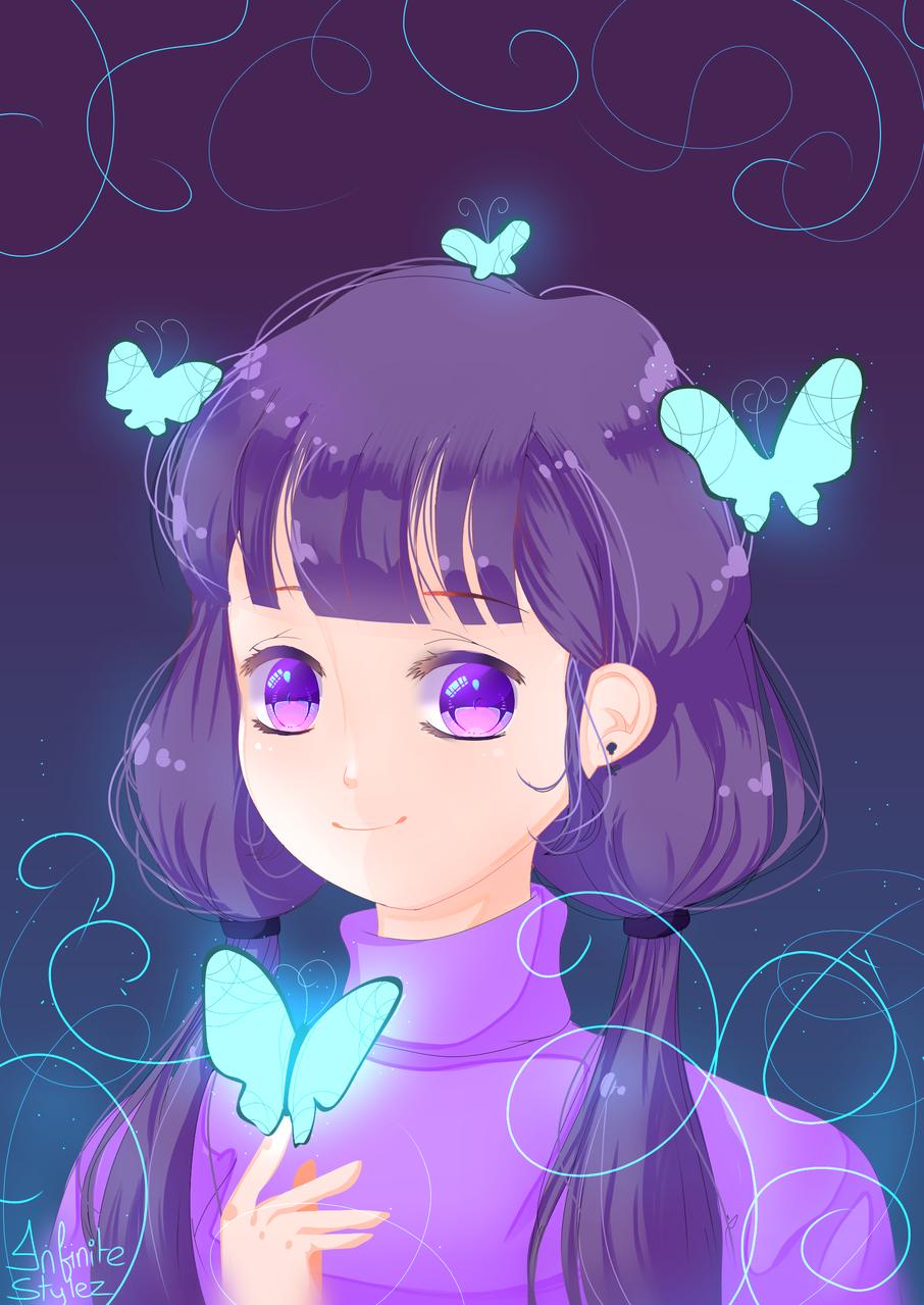 Butterflies 🦋🦋🦋 Illust of Infinite stylez medibangpaint blue animeeyes animegirl butterfly anime infinitestylez eyes purple