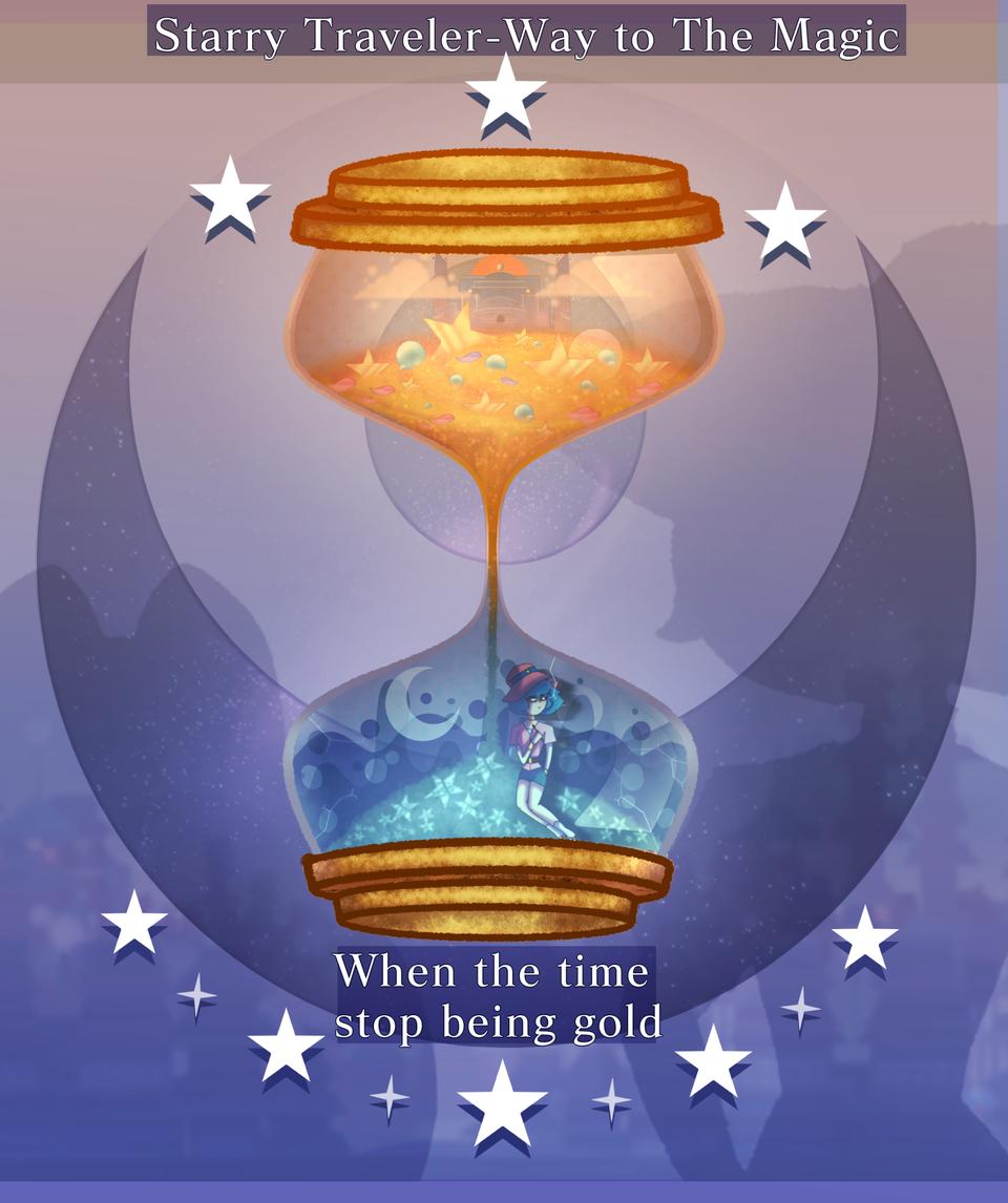 Starry Traveler-Way to the magic (Teaser Comic) Illust of MirelleGallery✨ fantasy drawing Mirelle_Gallery Comics hourglass digital art Teaser Artwork medibangpaint