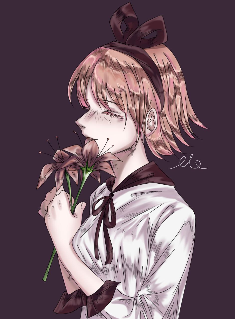 손가락으로 꽃소녀 그리기 '0 '
