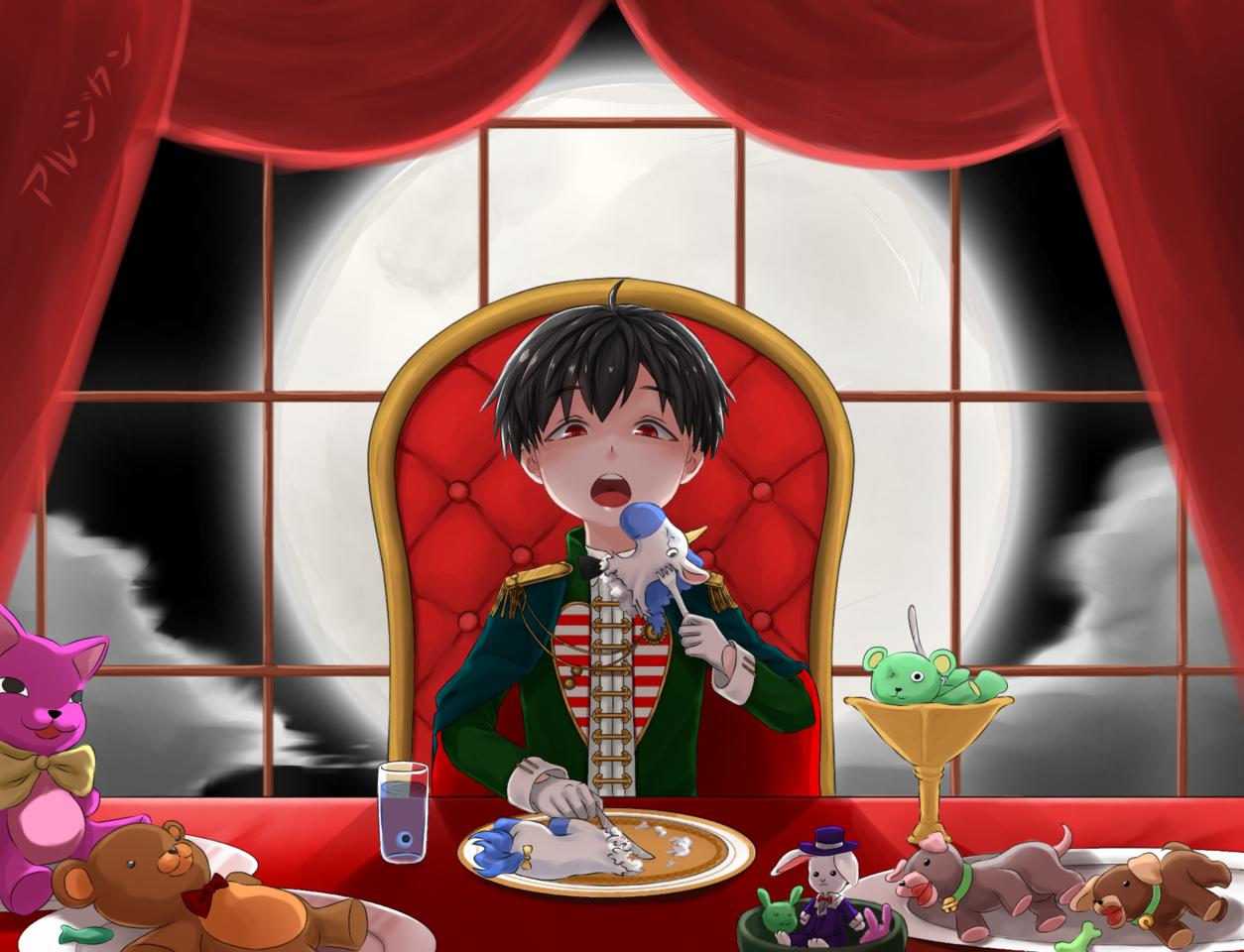 Grand Plush Feast Illust of aruji-kun creepy dark Anim animeart night Anime-boys plush