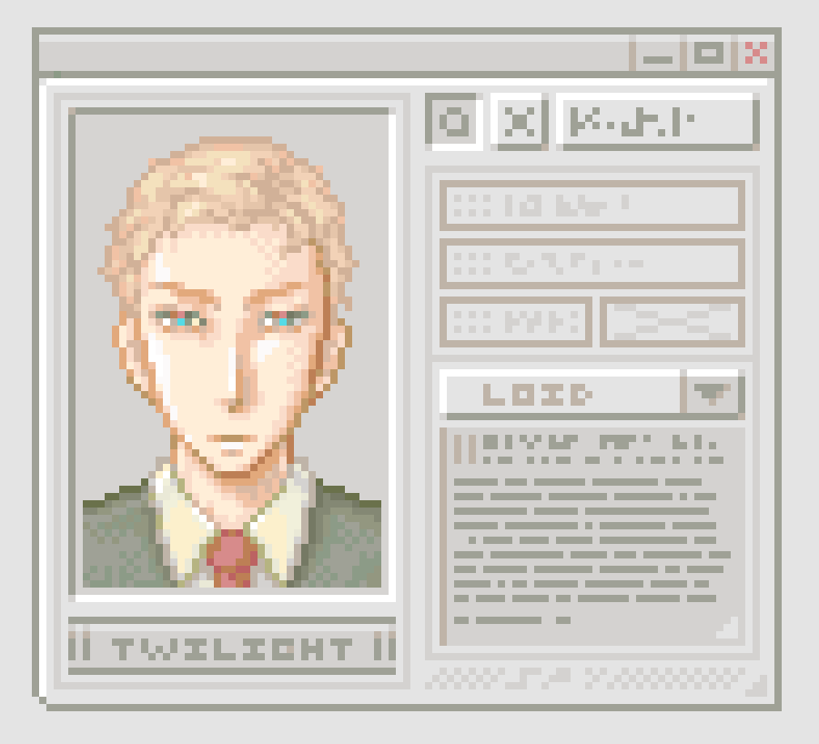 Agent Twiligt profile - Pixel Art  Illust of Petit G SPY×FAMILY_Contest computer pixelart retro