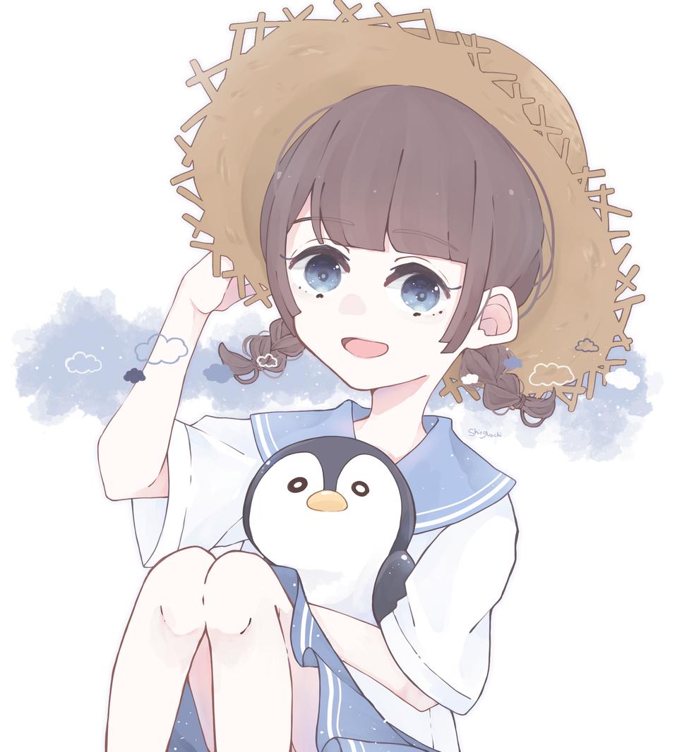 夏が来るね ☀︎ Illust of しろなち blue summer girl Strawhat medibangpaint illustration sailor_uniform original