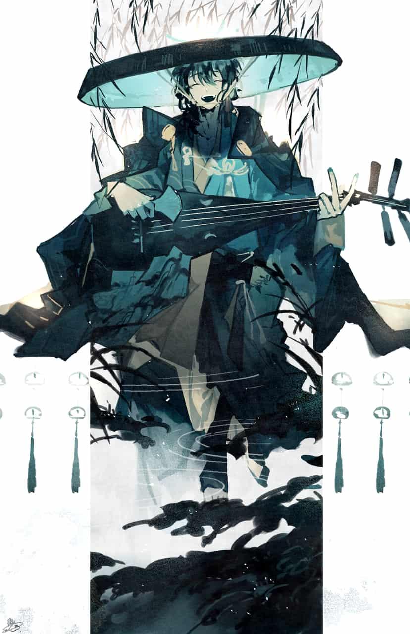 柳ノ雀 Illust of 鴉羽 凛燈 original Japanese_style 柳 オリジナルキャラ 琵琶